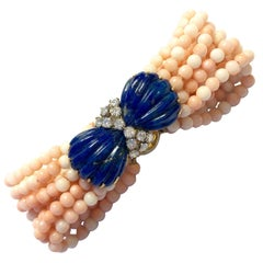 Lapis Lazuli Diamond and Angel Skin Coral Bracelet