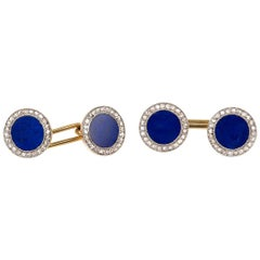 Lapis Lazuli & Diamond Cluster Cufflinks in Platinum & Gold, English, circa 1910