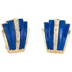 Lapis Lazuli Diamond Earrings Vintage 14 Karat Yellow Gold Estate Fine Jewelry