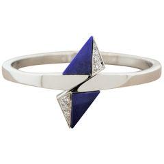 Lapis Lazuli Diamond Gold Cuff Bracelet