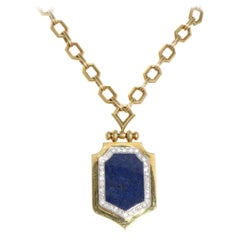 Lapis Lazuli Diamond Gold Necklace