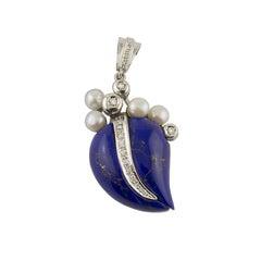Lapis Lazuli Diamond Pearl White Gold Pendant Necklace