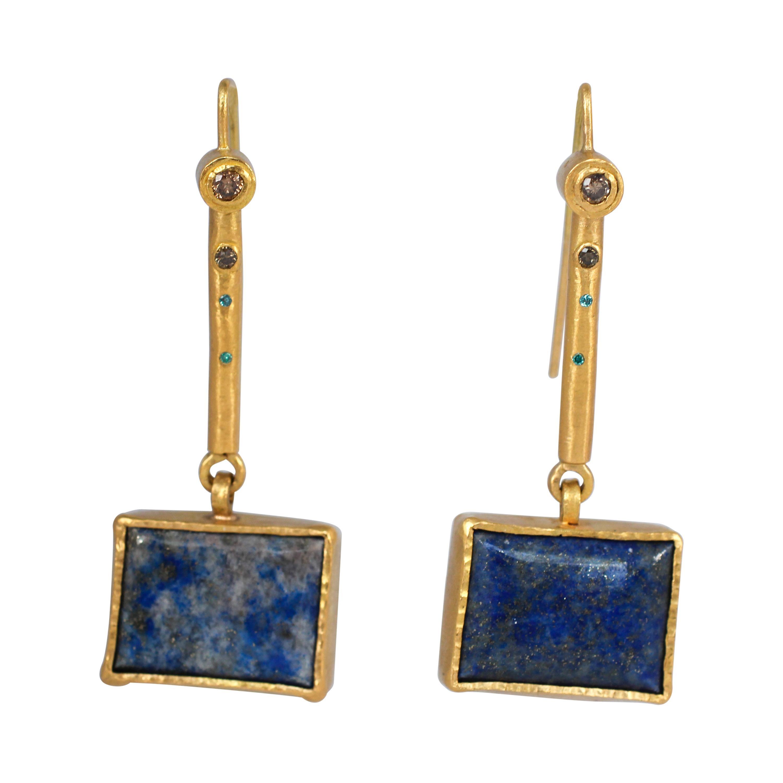 Lapis Lazuli Diamond Solid 22 Karat Gold Dangle Drop Contemporary Earrings