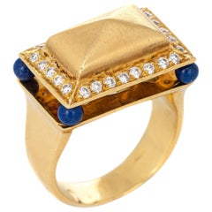 Lapis Lazuli Diamond Temple Ring Vintage 18 Karat Gold Square Mount Jewelry