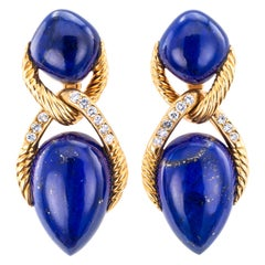 Lapis Lazuli Diamond Yellow Gold Drop Clip-On Earrings