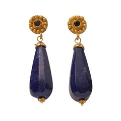 Lapis Lazuli Drop Earring with 22K Gold & Emerald Post Deborah Lockhart Phillips