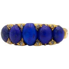 Lapis Lazuli English Made 18 Karat Yellow Gold Ring