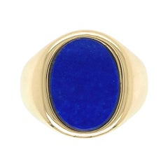 Lapis Lazuli Fine Men's Gold Ring Estate Fine Jewelry