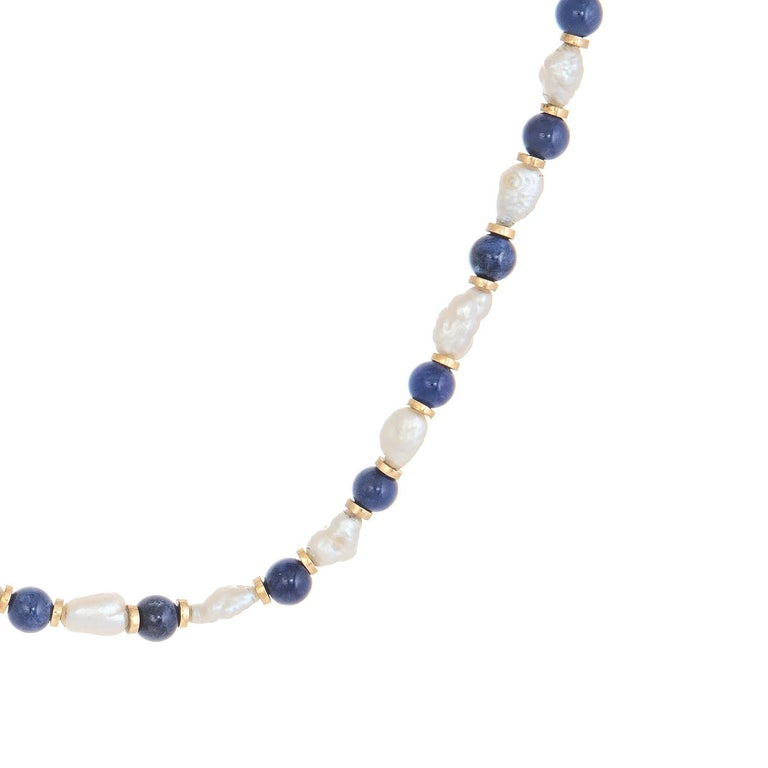 Modern Lapis Lazuli Freshwater Pearl Choker Necklace Vintage 14 Karat Gold Estate For Sale