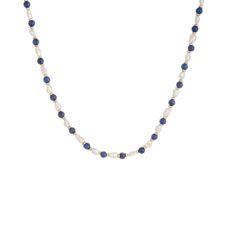 Lapis Lazuli Freshwater Pearl Choker Necklace Vintage 14 Karat Gold Estate For Sale