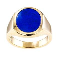 Lapis Lazuli Gentlemans Gold Ring