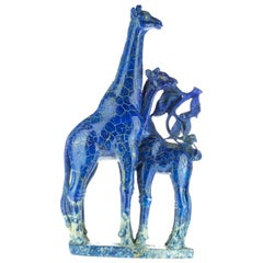 Lapis Lazuli Giraffe Family Carved Asian Artisan Animal Statue Sculpture