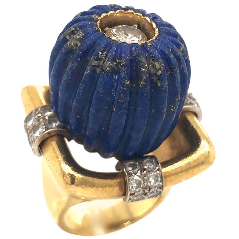 Lapis Lazuli Gold and Diamond 1970s Statement Ring