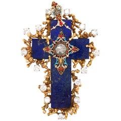 Lapis Lazuli Gold Enamel Cross Brooch