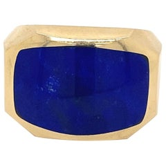 Lapis Lazuli Gold Men's Ring Estate Fine Jewelry