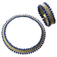 Lapis Lazuli Gold Necklace and Bracelet Suite