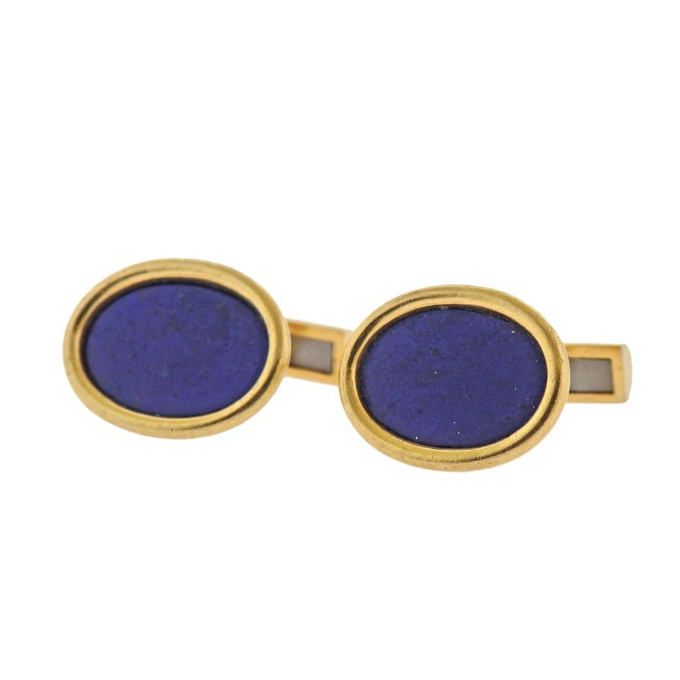 Pair of vintage 14k gold cufflinks with oval lapis.   Cufflink top is 18mm x 15mm. Marked: 14k, ABL. Weight - 11.6 grams.