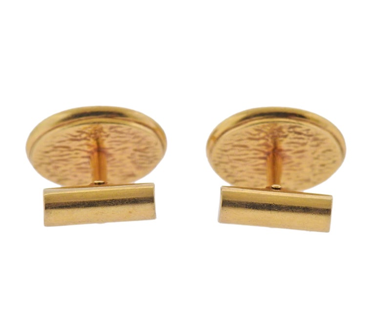 Lapis Lazuli Gold Oval Cufflinks In Excellent Condition For Sale In Boca Raton, FL