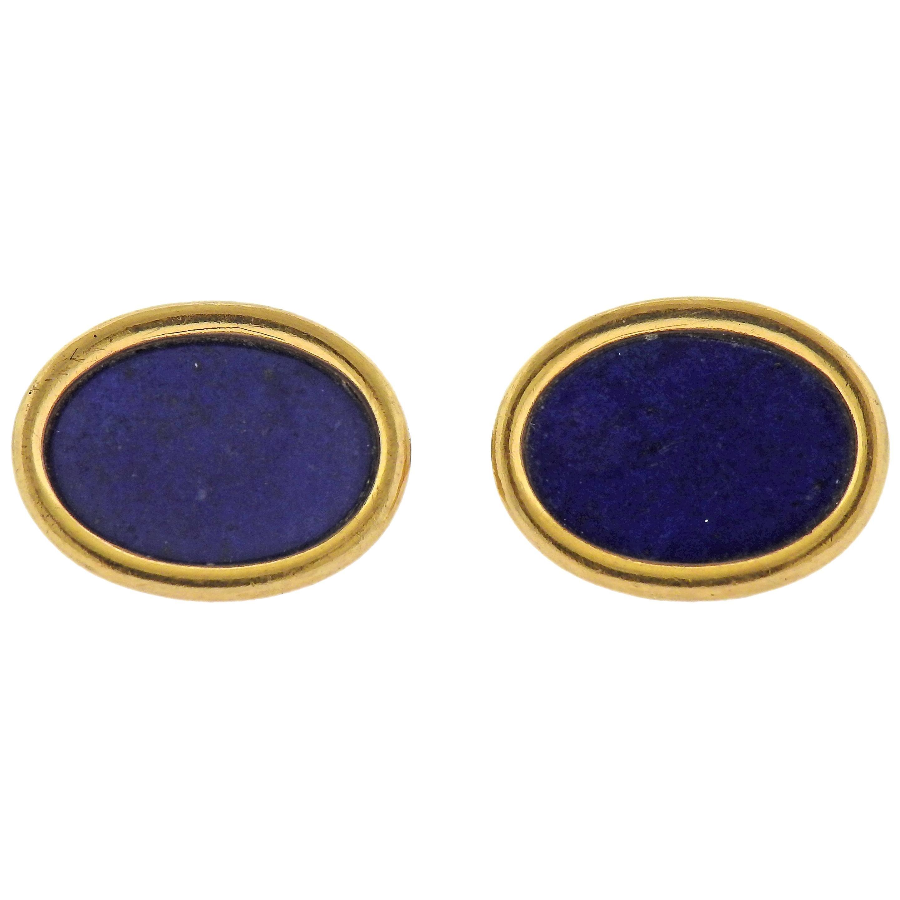 Lapis Lazuli Gold Oval Cufflinks