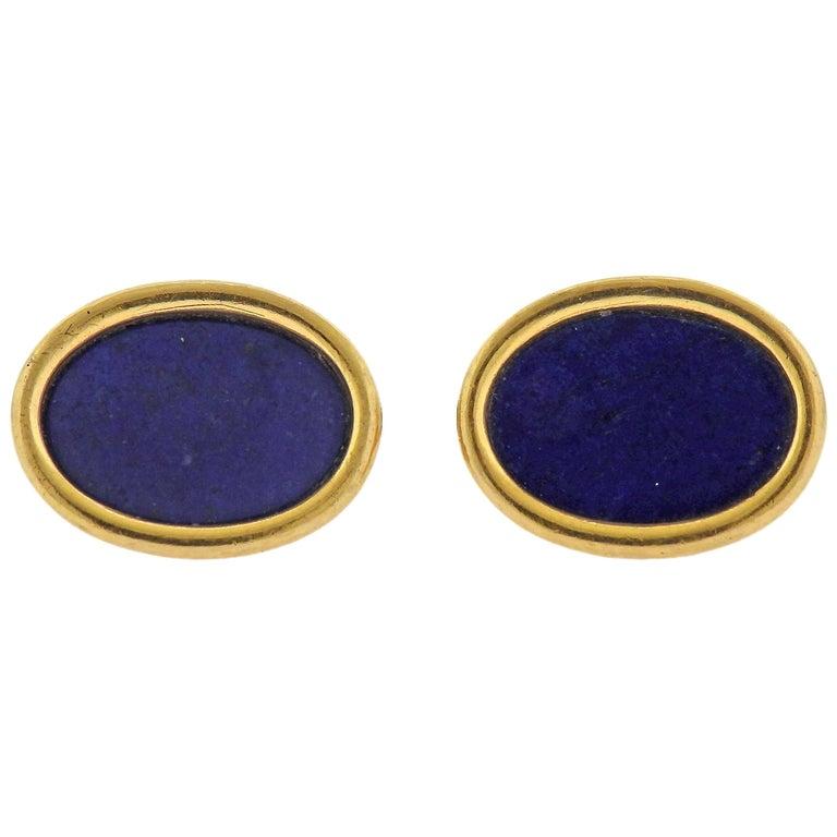 Lapis Lazuli Gold Oval Cufflinks For Sale