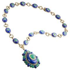 Lapis Lazuli, Green Agate and Diamond Pendant Necklace