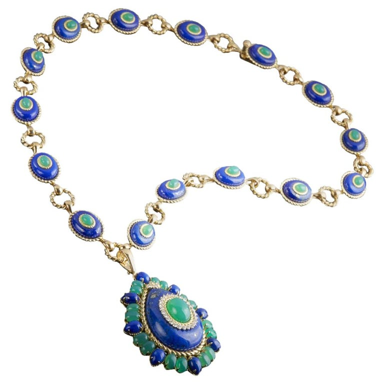 Lapis Lazuli, Green Agate and Diamond Pendant Necklace For Sale