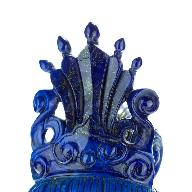 Hand-Carved Lapis Lazuli Guanyin Bodhisattva Buddha Asian Head Bust Carved Statue Sculpture For Sale