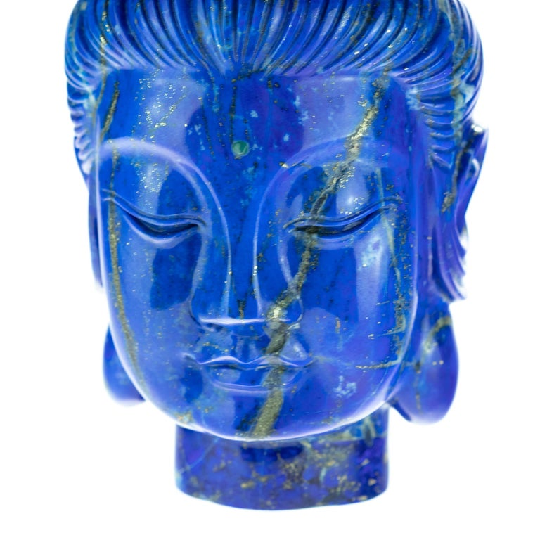 Lapis Lazuli Guanyin Bodhisattva Buddha Asian Head Bust Carved Statue Sculpture In Excellent Condition For Sale In Milano, IT