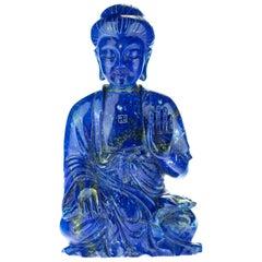 Lapis Lazuli Guanyin Bodhisattva Female Buddha Asian Art Carved Statue Sculpture