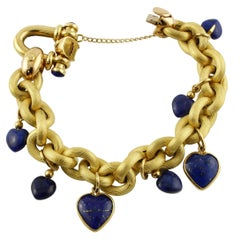 Lapis Lazuli Hearts Charms, 18 Karat Yellow Gold Chain Bracelet