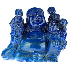 Lapis Lazuli Laughing Buddha Children Carved Eastern Meditation Statue Sculpture