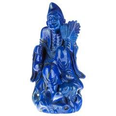 Lapis Lazuli Laughing Man Carved Figure Spiritual Artisanal Statue Sculpture