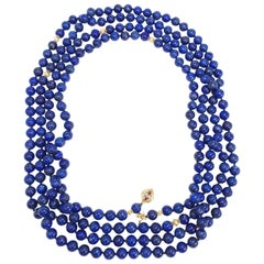 Lapis Lazuli Long Rope Bead Necklace, 14 Karat Gold, Diamond and Ruby Gold Clasp