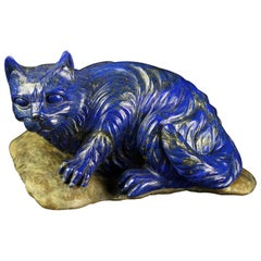 Lapis Lazuli Natural Blue Cat Feline Carved Animal Asian Statue Sculpture