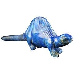 Lapis Lazuli Natural Blue Dinosaur Figurine Carved Animal Asian Statue Sculpture
