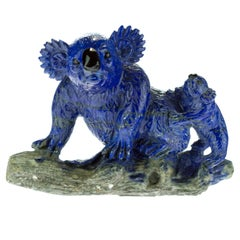 Lapis Lazuli Natural Blue Koala Family Carved Animal Australia Statue Sculpture