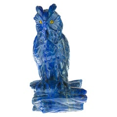 Lapis Lazuli Natural Blue Owl Carved Animal Gemstone Asian Statue Sculpture