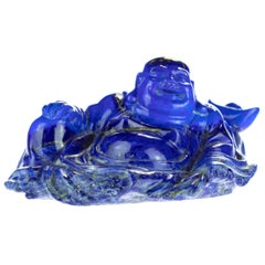 Lapis Lazuli Natural Blue Wise Buddha Carved Gemstone Asian Art Statue Sculpture
