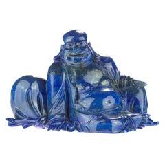Lapis Lazuli Natural Laughing Buddha Carved Gemstone Asian Art Statue Sculpture