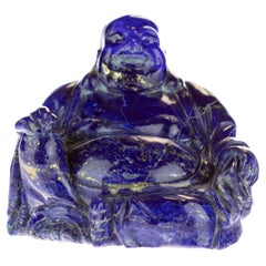 Lapis Lazuli Natural Laughing Buddha Carved Gemstone Asian Art Statue Sculpture