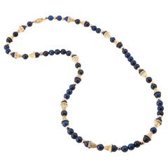 Lapis Lazuli Necklace 14 Karat Gold Bead Separators Fluted Matinee Vintage