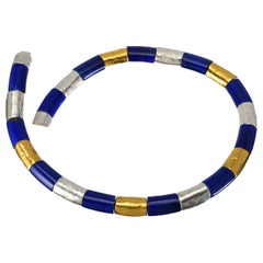 Lapis Lazuli Necklace with Silver and Gold Vermeil