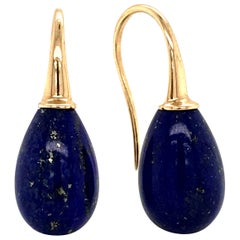 Lapis Lazuli on Yellow Gold 18 Karat Drop Earrings