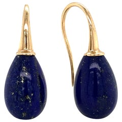 Lapis Lazuli on Yellow Gold 18 Karat Drop Earrings