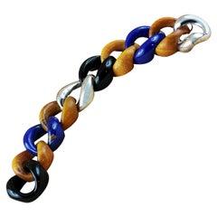 Lapis Lazuli Onyx Orange Wood 925 Silver Link Bracelet