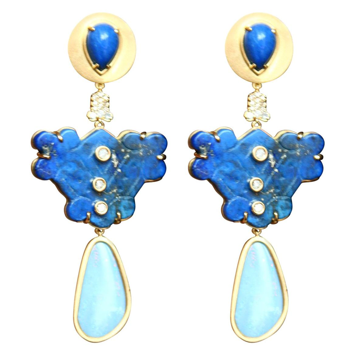 Lapis Lazuli Opal Diamonds 18 Karat Gold Earrings