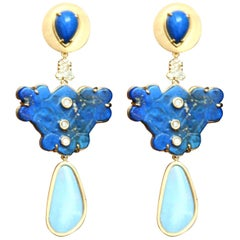 Lapis Lazuli Opal Diamonds 18 Karat Gold Earrings