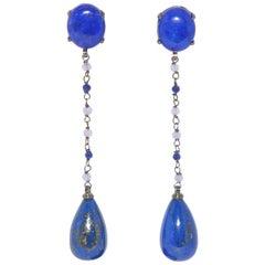 Lapis Lazuli, Purple Onix on Black Gold 18 Karat Chandelier Earrings