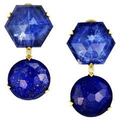 Lapis Lazuli Quartz Diamond Gold Denim Drop Earrings