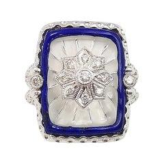 Lapis Lazuli, Quartz, Diamond Ring Set in 18 Karat White Gold Settings